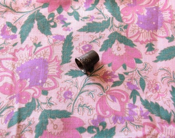 pink and lavender floral print vintage cotton blend fabric -- 58 wide by 1 3/4 yards