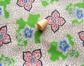 green and red floral print vintage feedsack fabric piece