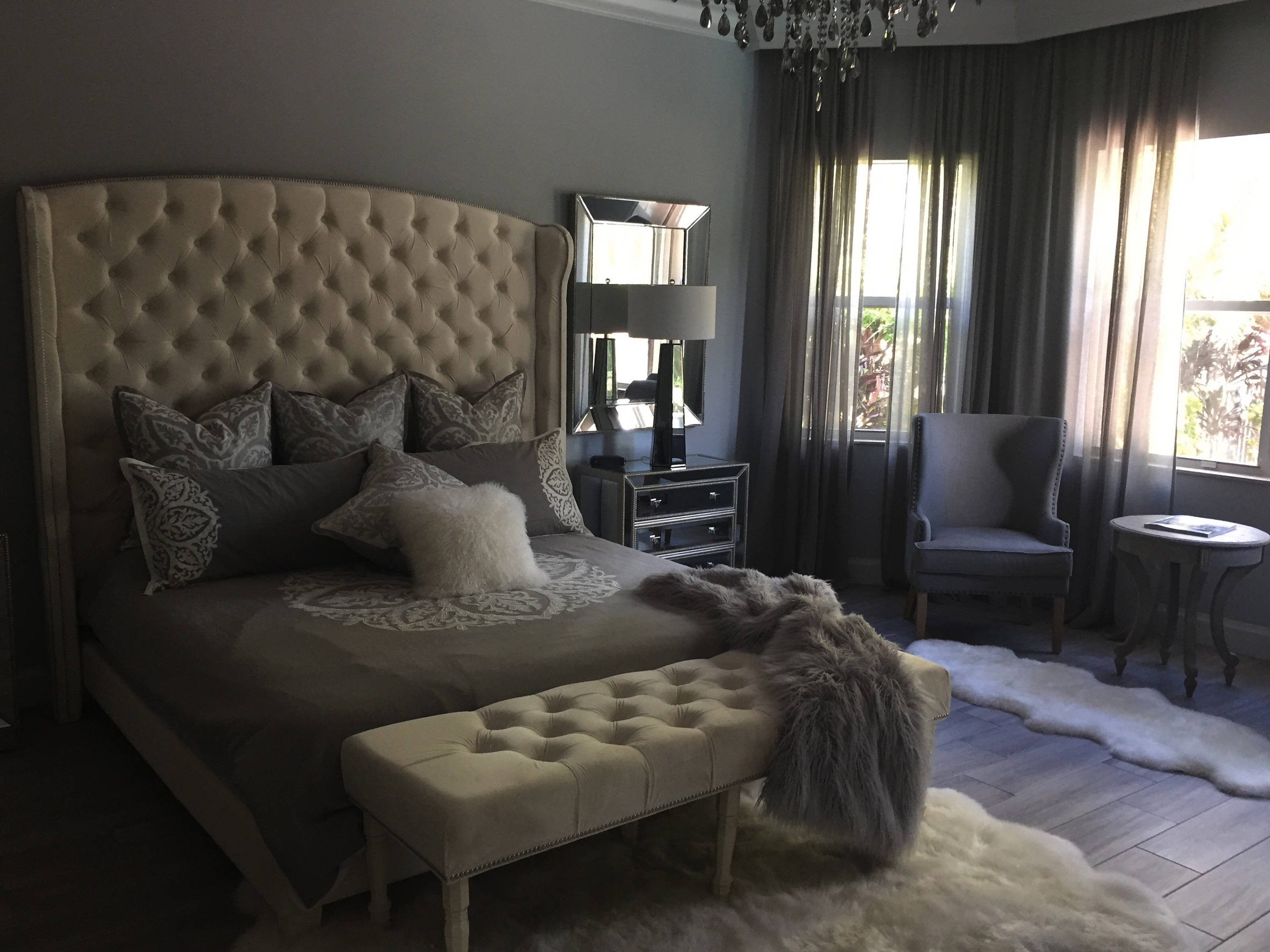 Diamond Tufted Slightly Arched Wingback Bed And Bench Set - Diamond tufted steel grey velvet wingback headboard king extra tall