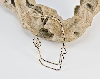 Face Earrings- 14kt Gold Earrings- Wire Face Earrings- Handmade Earrings-  Threaders- Profile Earrings-  Statement Earrings- Gold Hoops-
