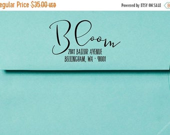 SUMMER SALE Whimsical Calligraphy Wood Address Stamp or Clear Address Labels
