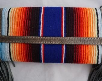 Bright Colored Mexican Blanket Textile Boho Ethnic Leather Fringe Tassel Clutch Handbag
