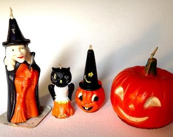 4 vintage Gurley Halloween candles witch black owl jack o lantern jol