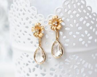 Gold flower earrings, Gold crystals earrings, Clear crystals earrings, Flowers gold earrings, Cubic Zirconia earrings CZ flower earrings 782