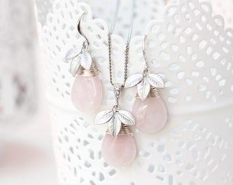 Quartz bridal set, Rose leaves set, Pink teardrop earrings and necklace, Teardrop leaves set, Silver leaves set, Floral teardrop set 756