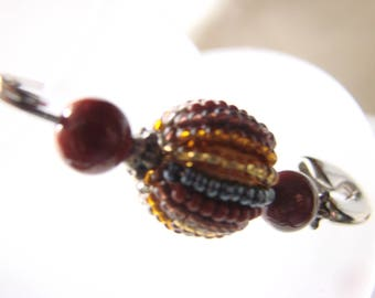 Beaded and gemstone brooch,