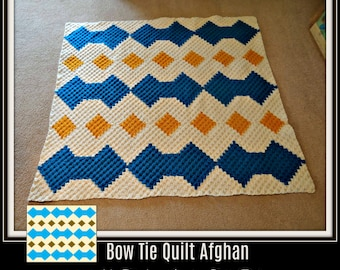 Bow Tie Quilt Afghan, C2C Graph, Written Word Chart