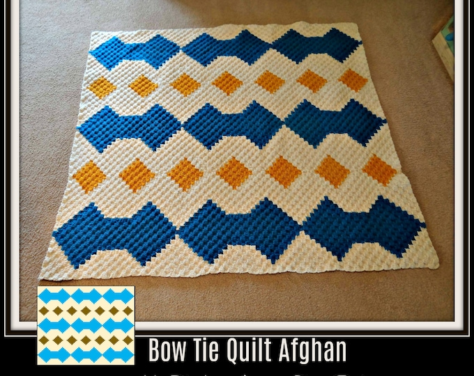 Featured listing image: Bow Tie Quilt Afghan, C2C Graph, Written Word Chart