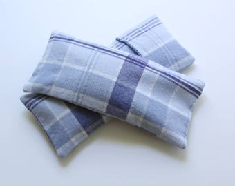 Eye Pillow Blue/White plaid Cotton with Insert and Washable Cover,  Flax/Lavender