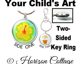 TWO-SIDED Custom Key Ring With Your Child's Artwork, Your Child's Drawing in a Clip, Kids' Artwork in a Two-Sided Key Ring Keychain Key Ring