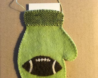 Needle Felted Mitten Ornament For Someone Who Enjoys Football That Holds A Gift Card