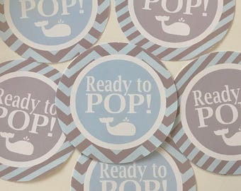 SWEET WHALE Happy Birthday Party or Baby Shower Favor Tags One Dozen (12)  Pink and Grey  - Party Packs Available