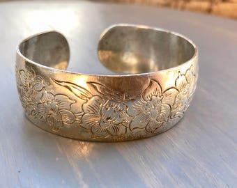 Vintage Sterling Silver Cuff Bracelet Jonquil Floral Flowers S Kirk Son