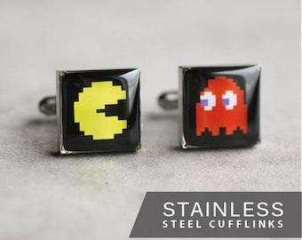 Pac Man cufflink, Surgical steel cuff link, Video game cufflink, Retro cufflink, gift for him, father's day gift, geek cufflink