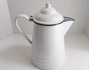 Vintage Enamel Coffee Pot Farmhouse White with Cobalt Trim Midcentury Camping Pot Cowboy Pot Vase