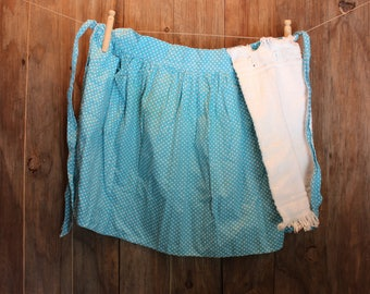 Blue Polka Dot Apron with Towel Half Apron Country Baking Cooking Supplies Women Vintage1970s 70s (P)