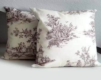 Cushion cover, cottage chic, toile de jouy pillow, pillow case, 16 x 16, beige and brown, pillow cover, romantic Cushion Cover,