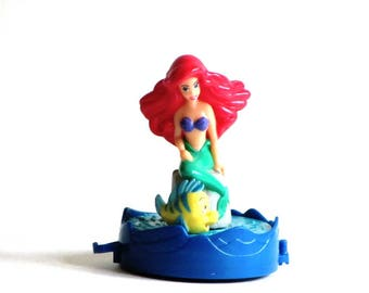 Little Mermaid McDonald's Disney Train Sebastian and Ariel Cake Topper Revolving Plastic Toy Happy Meal 1994
