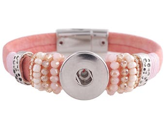 "1 Pink Leather Bracelet - 6.75"" FITS 18MM Candy Snap Charm Jewelry Silver KC0043 CJ0821"