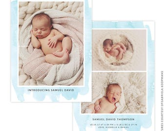 INSTANT DOWNLOAD - PSD 5x7 Birth Announcement Template -  E1495