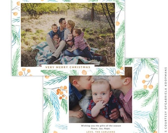 Christmas 5x7 Photo Card - Instant download - e1514