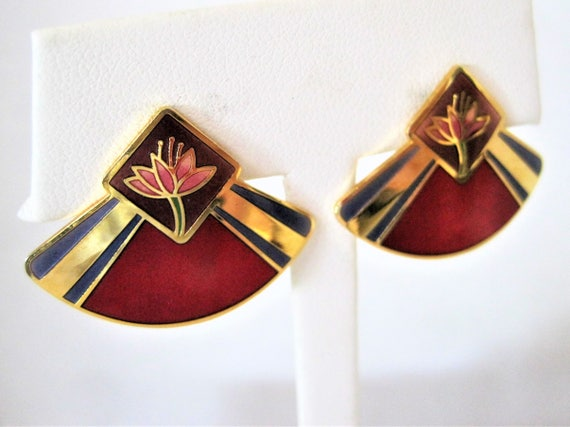 Laurel Burch Red Earrings  -  Fan Shaped Deco  - Red Enamel Water Lilies  - Pierced Earrings