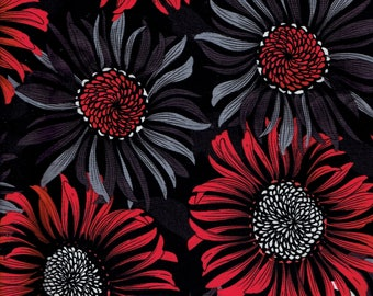 Large Floral Quilting Fabric Red Gray Black and White. Two to Tango by Exclusively Quilters. 112 x 43 inches Over 3 yards 100% cotton fabric