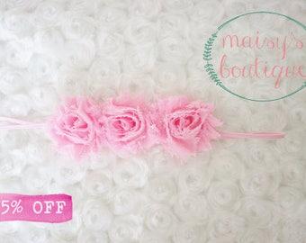 Mini Baby Pink Flower Headband/ Shabby Flower Headband/ Newborn Headband/ Baby Headband/ Flower Girl/ Wedding/ Photo Prop