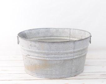 Galvanized Tub Wash Tub #2 Bucket Metal Handle Galvanized Metal Mop Bucket K28
