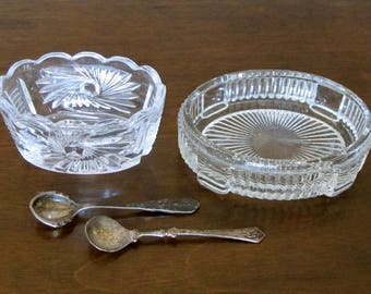 Pair of Crystal Salt Cellars with Silver Spoons Mismatch Set of 2