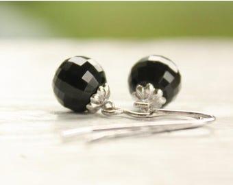 FLASH SALE Black Jade Bead Earrings - Faceted Balls - Drop Earrings - Dark Glamor