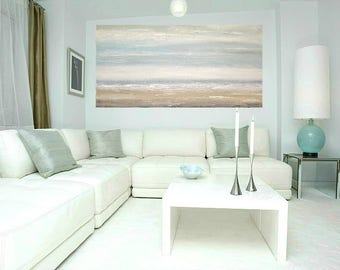 """Art, Seascape Painting,Large Original Abstract, Acrylic Paintings on Canvas by Ora Birenbaum Titled: Soft Clouds 16 24x48x1.5"""""""