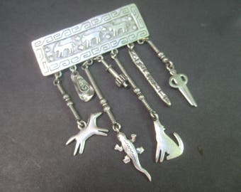 Unique Pewter Tone Metal Dangling Charm Brooch c 1980s
