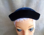 Vintage Hat Navy Blue Velvet 1950s with Feather Plume and Bows