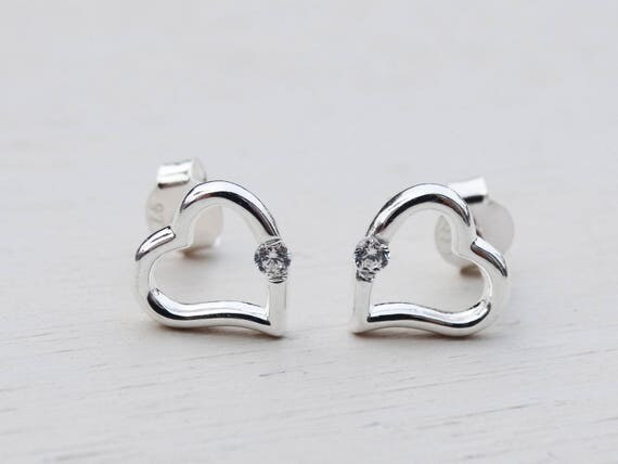 Sterling Silver Heart Studs With Cubic Zirconia Solitaire