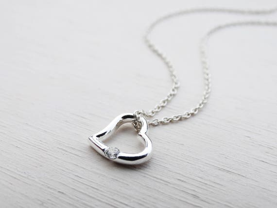 Small Silver Heart Necklace With Cubic Zirconia Solitaire, Sterling Silver