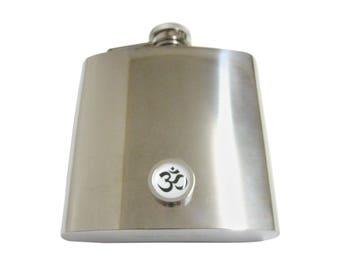 Bordered Spiritual Om Mystic Symbol 6 Oz. Stainless Steel Flask