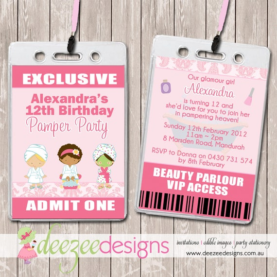 Pamper Spa Party VIP Lanyard Birthday Invitations x 10 BD089G by