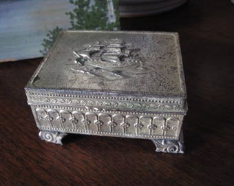 Vintage SNK Made in Occupied Japan Trinket Box with Ship