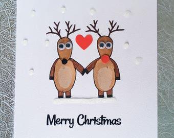 "Reindeer Love Handmade Christmas Card - Rudolph - 4"" x 4"""