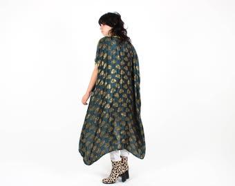 70s METALLIC Gold & Bottle Green Wizardess AVANT GARDE / Draped Long Slouchy / Free Size Relaxed Kimono Jacket / Robe / Duster