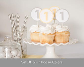 Baby's First Birthday - Number Cupcake Toppers - Choose Colors