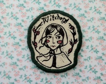 salem witch girl Patch - Forest green edging