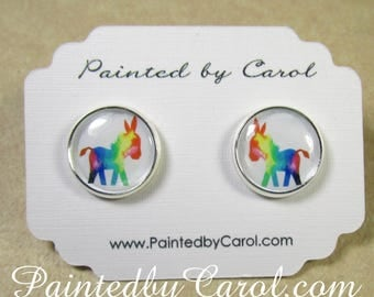 Donkey Earrings, Donkey Jewelry, Donkey Gifts, Donkey Studs, Burro Earrings, Burro Jewelry, Burro Gifts, Gifts with Donkey