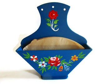Rustic German Vintage Wooden Coffee Filter Holder with Handpainted Primitive Flowers Bauernmalerei, Rustic Folk Art Home Decor