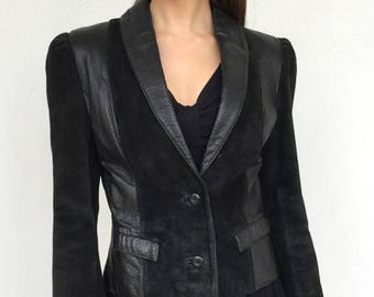 1980s Leather fitted Skin Embossed Jacket