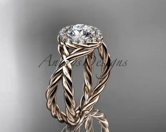 """14kt rose gold diamond rope engagement ring with a """"Forever One"""" Moissanite center stone RP889"""