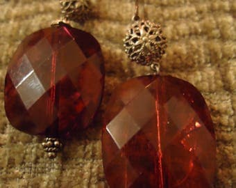 Handcrafted Boho Cranberry and Ornate Gold Bead Earrings