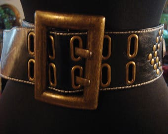Vintage 1990s Boho Gypsy Chic Black Leather Corset Belt with Heart Shaped Studs
