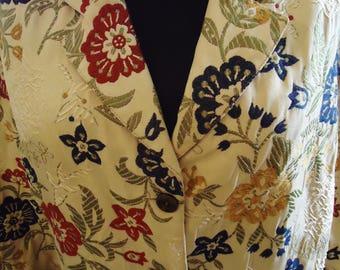Vintage 1990's Burgundy and Navy Flowered Blazer